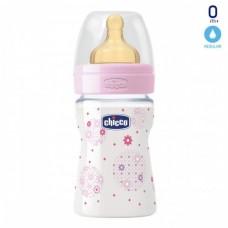 Бутылочка Chicco - Well-Being (20610.10) 150 мл / 0 мес.+, пластик, соска латекс (нормальный поток), розовый