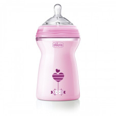 Бутылочка Chicco - Natural Feeling (80837.11) 330 мл / 6 мес.+, пластик, соска силикон (быстрый поток, для каши), розовый