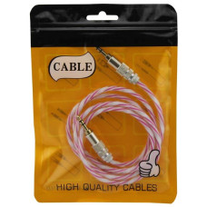 AUX кабель 3.5 силикон-металл Twisted розовый