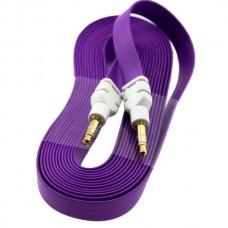 AUX кабель 3.5 плоский 3 метра фиолетовый