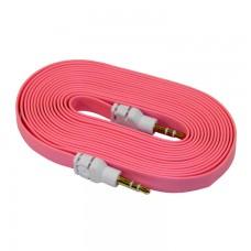 AUX кабель 3.5 плоский 3 метра розовый
