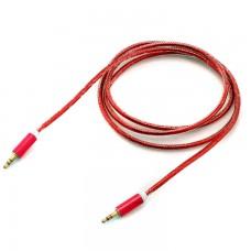 AUX кабель 3.5 c металлическим штекером 1.5 метра красный