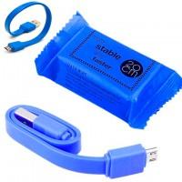 Кабель USB - Micro (плоский шнур) 0.2m синий