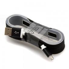 Micro USB кабель 1.5m тканевый черный