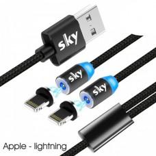 Кабель магнитный USB SKY (R DUAL-line) Apple-lightning (120 см) Black