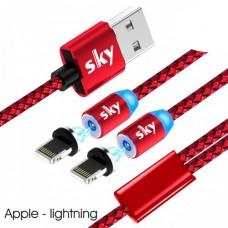 Кабель магнитный USB SKY (R DUAL-line) Apple-lightning (120 см) Red