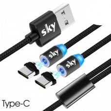 Кабель магнитный USB SKY (R DUAL-line) Type-C (120 см) Black