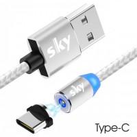Кабель магнитный USB SKY (R-line) Type-C (100 см) Silver