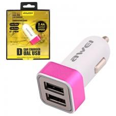Автомобильное зарядное устройство AWEI C-200 2USB 2.4A pink