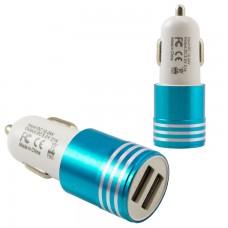Автомобильное зарядное устройство Car-003 2USB 2.1A blue без коробки