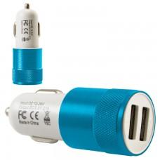 Автомобильное зарядное устройство Car-004 2USB 2.1A blue без коробки