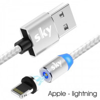 Кабель магнитный USB SKY (R-line) Apple-lightning (100 см) Silver