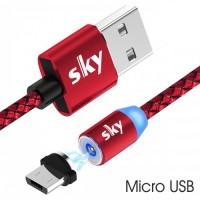 Кабель магнитный USB SKY (R-line) Micro USB (100 см) Red