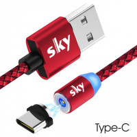 Кабель магнитный USB SKY (R-line) Type-C (100 см) Red